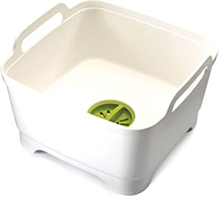 Joseph Joseph 85055 Wash & Drain Wash Basin Dishpan with Draining Plug Carry Handles 12.4-in x 12.2-in x 7.5-in, White
