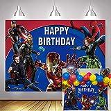 SHISHI Fondo de los Vengadores de 7 x 5 pies Marvel Superhéroe fotografía telón de fondo para niños niños niños fiesta de cumpleaños decoraciones baby shower foto cabina accesorios
