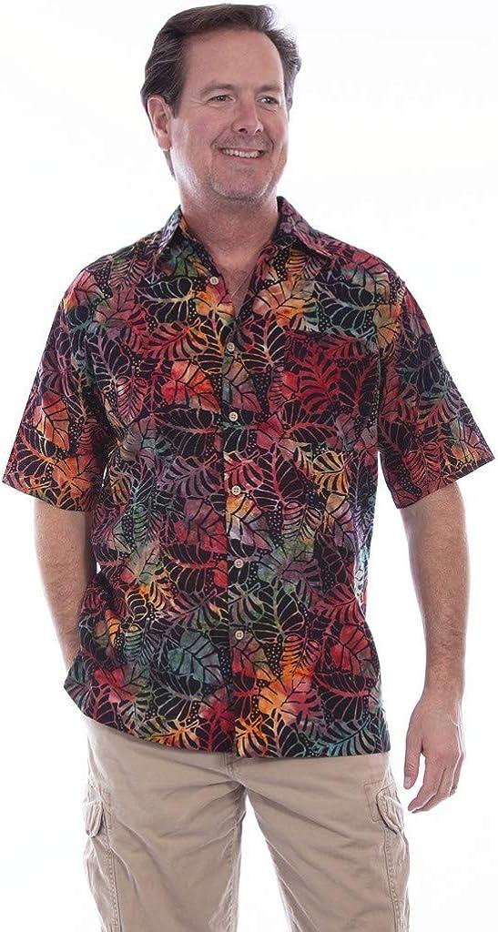 Scully Western Shirt Mens S/S Floral Leaf Batik Button Sunset F0_5265