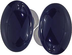 DT 2000 253763 Knop Dubbel Ovaal Porselein blauw, voor oven/staal vernikkeld gesatineerd