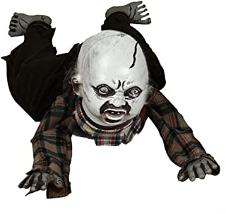 Tawcal Crawling Zombie, Animated Baby Zombie Bloody Electric Crawl Ghost Horror Creeping Babies Doll with Sound LED Eyes Scary Halloween Decoration Props for Haunted House Party Bar