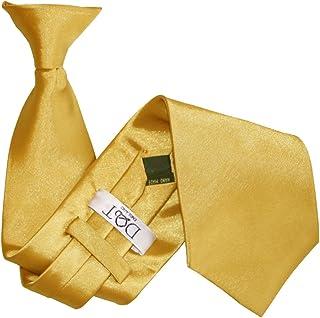 DQT Men Plain Satin Wedding Formal Casual Security Uniform Funeral Business Easy to Wear Clip on Tie