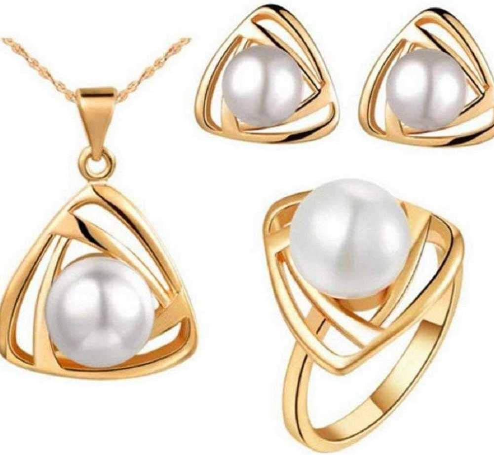 MERSDW Hot Pearl Jewelry Three Piece Set Necklace + Stud Earrings + Ring Fashion Hollow Smart Triangle Flower Mother Pearl Pendant Necklace Earrings Ring Jewelry Three Piece Set Accessories (White)