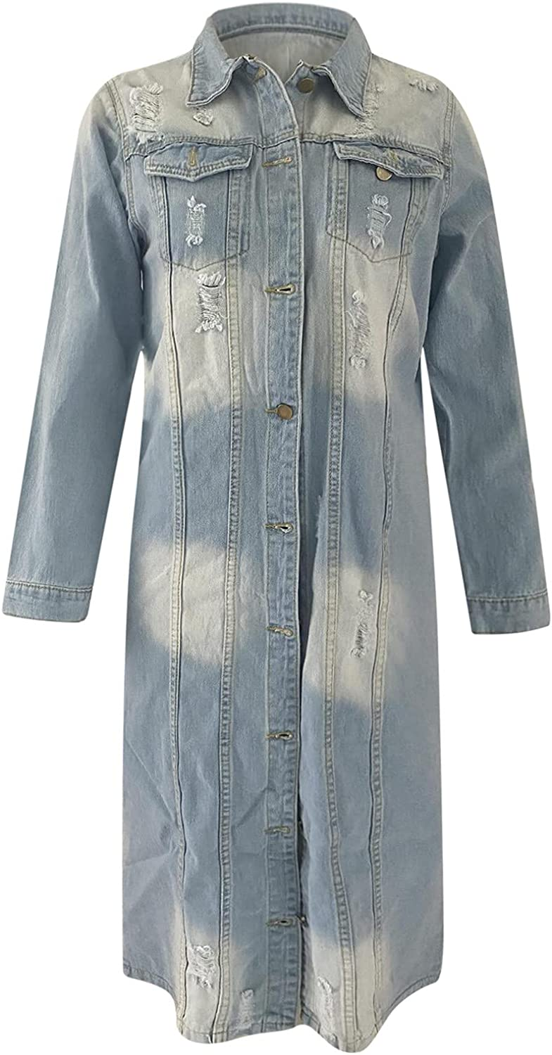 Womens Jean Jacket Long Sleeve Casual Handsome Ripped Distressed Button Denim Jacket Single Breasted Trench Coat