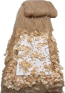 Tela africana de encaje con flores 3D bordadas para bodas y fiestas