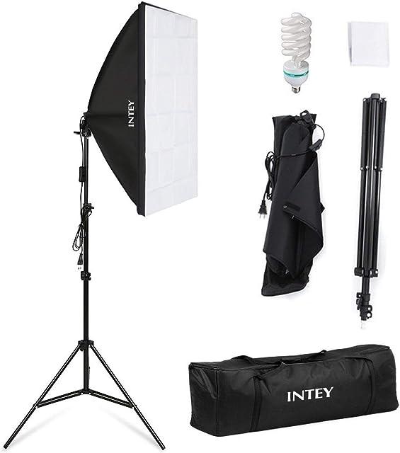 Intey Softbox Iluminacion Kit Fotografia con Luz Continua Ventana de Luz 50x70cm Tripode Bombilla 135W de Fotografía de Estudio Fotográfico