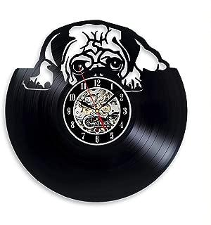 Pug Puppy Vinyl Wall Clock Room Decor Vintage Gifts Art Decorations Items Artwork Life Presents Accessories
