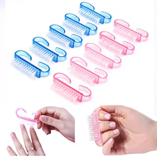 SCASTOE 10pcs Plastic Handle Nail Brushes Fingernail Cleaning Manicure Tools Accessories
