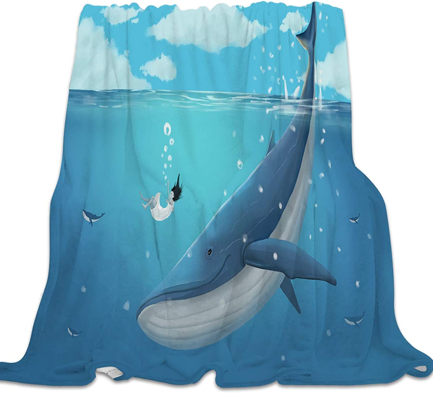 YEHO Art Gallery Flannel Fleece Bed Blanket Super Soft Cozy Throw-Blankets for Kids Girls Boys,Lightweight Blankets for Bed Sofa Couch Chair Day Nap,bluee Whale with a Girl in The Deep Sea,39x49inch