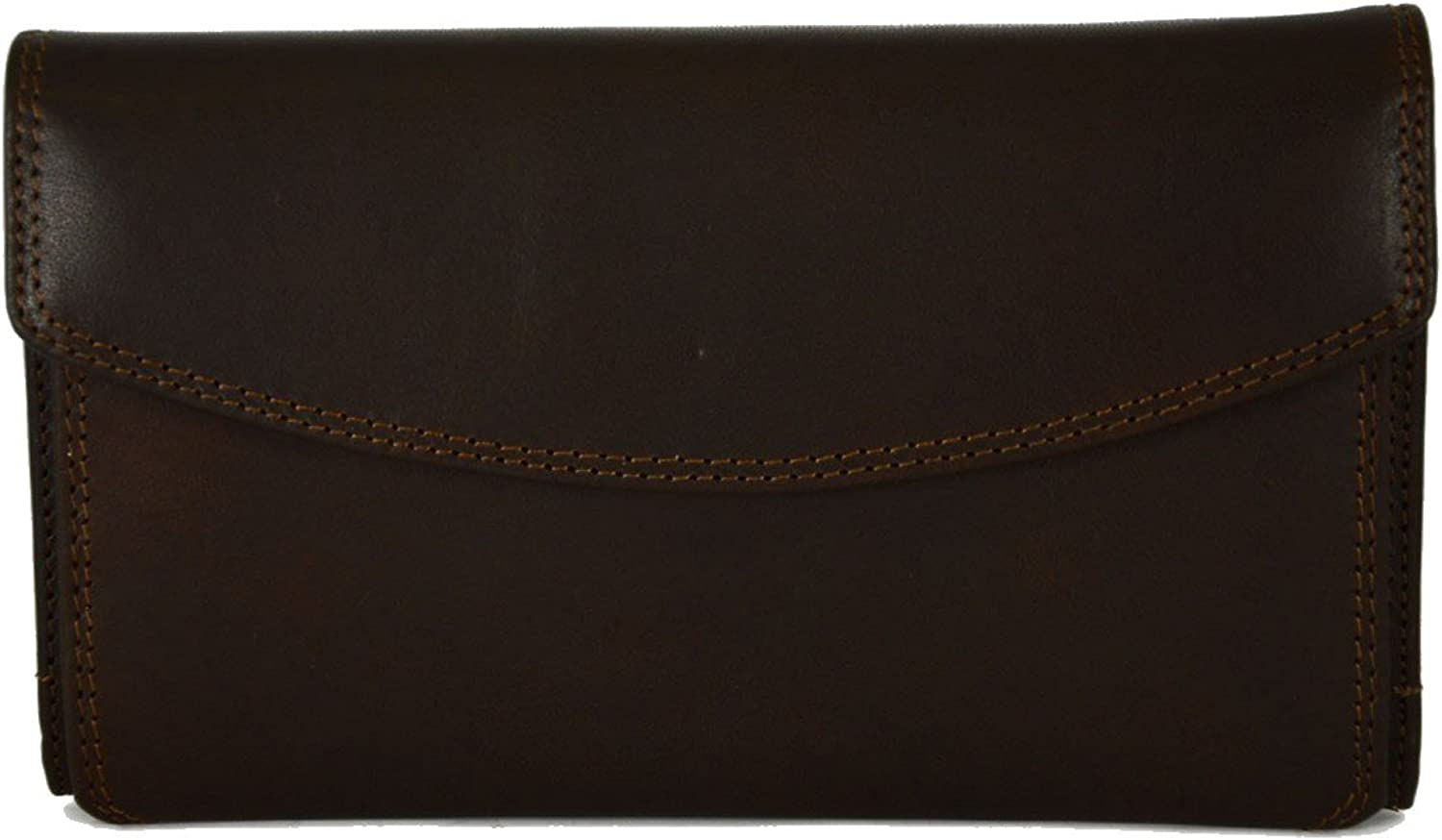 Genuine Leather Multicompartment Wallet For Woman color Dark Brown