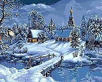 番号キットによるDIYデジタル油絵子供のための雪の夜の着色大人の学生初心者ホーム手作りキャンバスギフト40x50cmフレームレス
