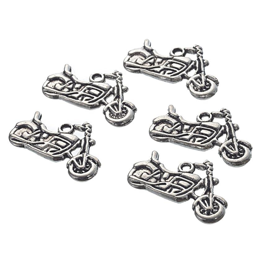 Housweety 30Pcs Silver Tone Motorcycle Charms Pendants 24x14mm