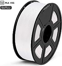 SUNLU Filamento PLA 1.75mm 1kg Impresora 3D Filamento, Precisión Dimensional +/- 0.02 mm, PLA Blanco
