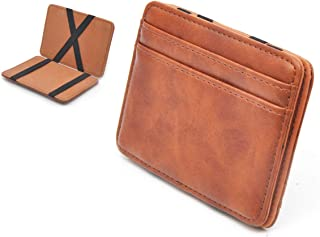Slim Pocket Wallet with Magic Money Clip & Card Holders, Genuine Leather