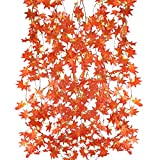 MIHOUNION 5Pcs Planta Enredadera Artificiales Guirnalda de Flores Artificiales Colgantes Guirnalda Follaje Artificial Hojas de Arce Plantas Artificiales para Exteriores e Interiores Balcón Rojo 2,5m