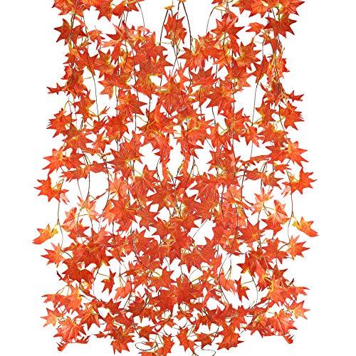 MIHOUNION guirnalda de flores artificiales 5 hilos 2.5 m plantas colgantes artificiales hojas de arce guirnalda de flores guirnalda de seda para el interior exterior balcón casa jardín decoración rojo
