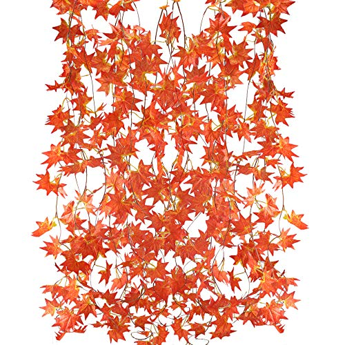 MIHOUNION Guirlande Feuille plante 5pcs 2.5m Artificiel Suspension Vigne de Fausse feuille dérable Fleurs Artificielle pour Jardin Décoration de Maison Blacon Intérieur Extérieur Mariage Fenetre Rouge