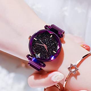 Acnos Black Round Diamond Dial with Latest Generation Purple Magnet Belt Analogue Watch for Women Pack of - 1 (DM-PURPLE12)