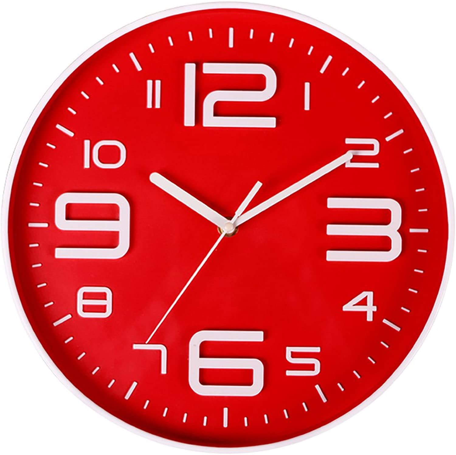 Aioloc Indoor Silent Movement Modern Wall Clock 10 Inch Big 3D Arabic Numerals Clocks Battery Operated Red