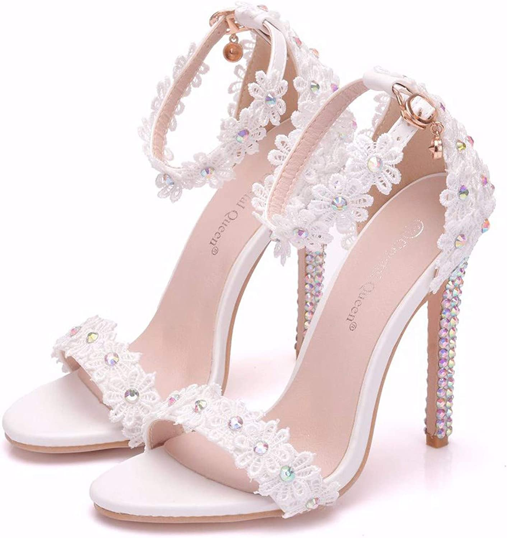 GTVERNH Women's shoes 11Cm Fine Heel Fish Mouth Sandals Lace Flowers Diamond Wedding shoes Stiletto Sandals Sandals.