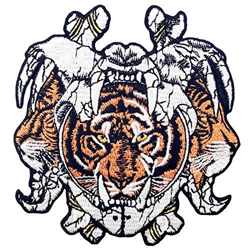 Parche termoadhesivo para la ropa, diseño de Casco antiguo de tigre de tres caras