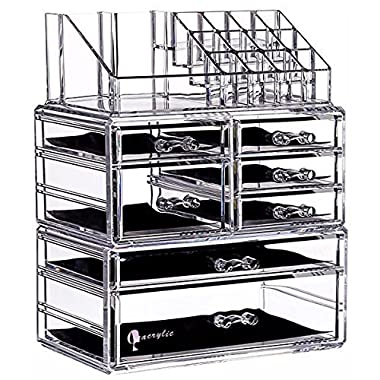 Cq acrylic 7 Drawers and 16 Grid Makeup Organizer with Cosmetic Storage Cases,9.5 x6.5 x11.8 ,Clear 2 Piece Set