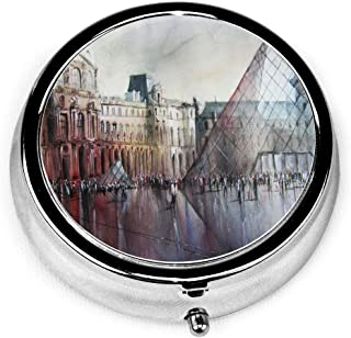 Pill Box Le Louvre Paris Watercolor Round Pill Case Daily Metal Silver Medicine Tablet Holder Organizer Carry Cases for Purse Pocket Travel Vitamin,Small 2 inch,3 Compartment