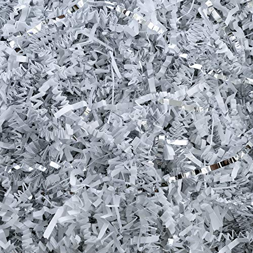 Crinkle Cut Paper Shred Filler (1/2 LB) for Gift Wrapping & Basket Filling - White & Silver | MagicWater Supply