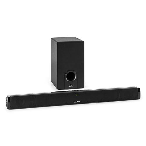 auna Areal Bar 550 • 2.1 Soundbar • externer Subwoofer • 120 Watt Peak-Leistung • Bluetooth mit 10m Reichweite • AUX- / Koax- & optischer Eingang • zur Wandmontage geeignet • Fernbedienung • schwarz