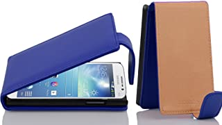Cadorabo Case Works with Samsung Galaxy MEGA 5.8 in Navy Blue – Flip Style Case Made of Structured Faux Leather – Wallet Etui Cover Pouch PU Leather Flip