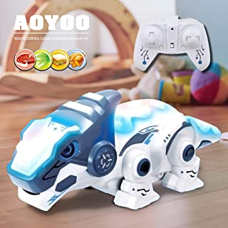 AOYOO RC Dinosaur Toy, Smart Dinosaur Robotic Toys, Remote Control Smart Robotic Dinosaur with Telescopic Tongue Electronic Pets Toy ,Funny Toy Gift for Boys Girls(Batteries Included)