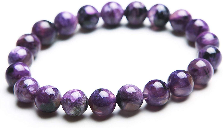 9mm Natural Charoite Beads Bracelet For Women Men Crystal Purple
