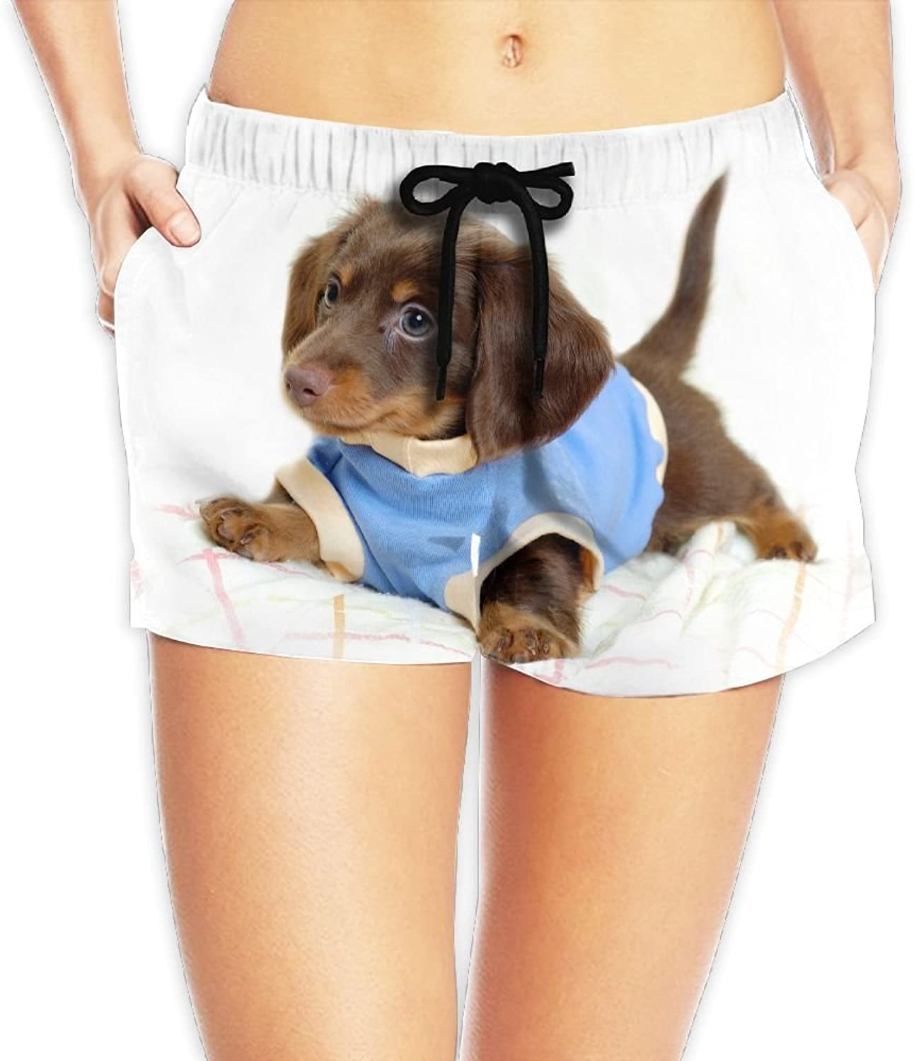 Cute Doggy Board Shorts Moistur Beach Shorts With Pockets For Womans White