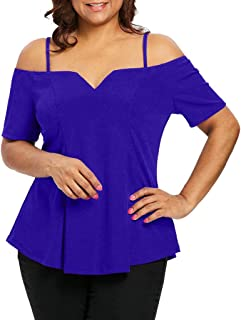 DADKA Fashion Womens Shirt Plus Size Short Sleeve Cold Shoulder Solid Sling T-shirt Tops