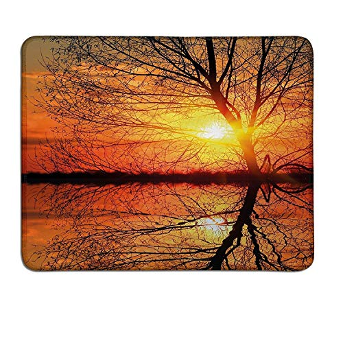 Autumn Gaming Mouse pad Leafless Tree in Fall on Sunset Backdrop Horizon with Water Reflection Panoramacustomizable Mouse pad Orange Black