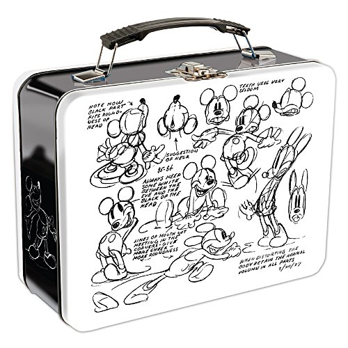 Vandor Disney Mickey Mouse Sketch Large Tin Tote, 9 x 3.5 x 7.5 Inches