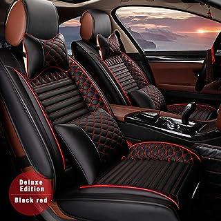 Custom Car Seat Cover for Mercedes-Benz CL CLA CLK CLS ML GL GLA GLC GLE GLK GLS SL 5-Seat Car Seat Cushion Cover Full Set Needlework PU Leather Luxury Set (Black & red)