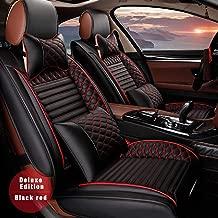 Surekit Custom Car Seat Cover for Mazda 2 3 5 6 CX-3 CX-5 CX-7 CX-9 MX-5 BT50 RX8 Tribute 5-Seat Car Seat Cushion Cover Full Set Needlework PU Leather Luxury Set (Black & red)