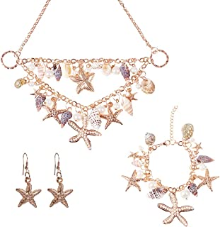 PH PandaHall Shell Necklace Fashion Women Sea Shell Starfish Faux Pearl Collar Bib Statement Chunky Necklace Seashell Necklace Choker