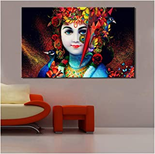 dayanzai Hindusism Posters and Prints Wall Art Canvas Painting Beautiful Lord Krishna Pictures Wall Decoration for Living Room 70X110Cm No Frame