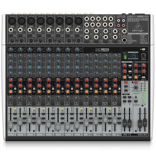 Behringer Xenyx X2222USB Premium 22-Input 2/2-Bus Mixer with USB/Audio Interface,Black