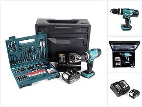 Makita DHP 453 STX - Taladro atornillador de impacto (18 V, 42 Nm, incluye batería de 5 Ah, cargador y 100 piezas) Juego de brocas + caja Makbox.