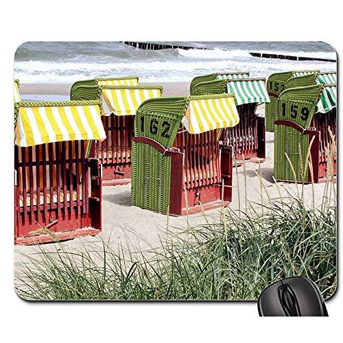 Anti Rutsch Gaming Mausepad,Pad Maus Unterlage,Gummiunterseite Mausmatte,Beach Clubs Strandkorb Sand Sea Baltic Sea Bürocomputer Pad,Glattes Mousemat,30X25Cm