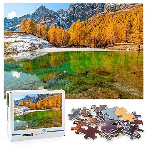 Bosque Lago Montaña Naturaleza 1000 piezas de rompecabezas Naturaleza del paisaje Herramienta de formación de equipos de rompecabezas-70x50cm