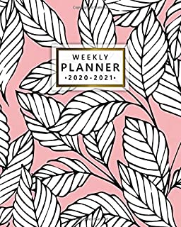 2020-2021 Weekly Planner: Baby Pink Floral Two Year Weekly Schedule Agenda & Planner - 2 Year Organizer with To-Do's, U.S. Holidays, Inspirational Quotes, Vision Board & Notes - Pretty Exotic Leaves