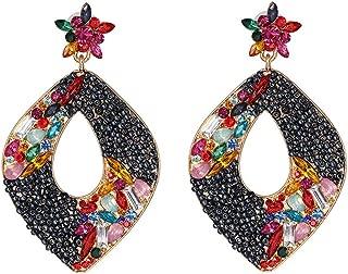Geometric Diamond Earrings,Simple Vintage Earrings Personality Women Stud Earrings Accessories,Black
