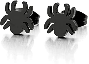 Mens Womens Black Spider Stud Earrings in Stainless Steel Gothic Punk Rock, 2 pcs
