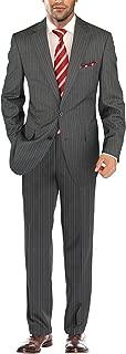 Men's Suit Modern Two Button Jacket Flat Front Pants Striped