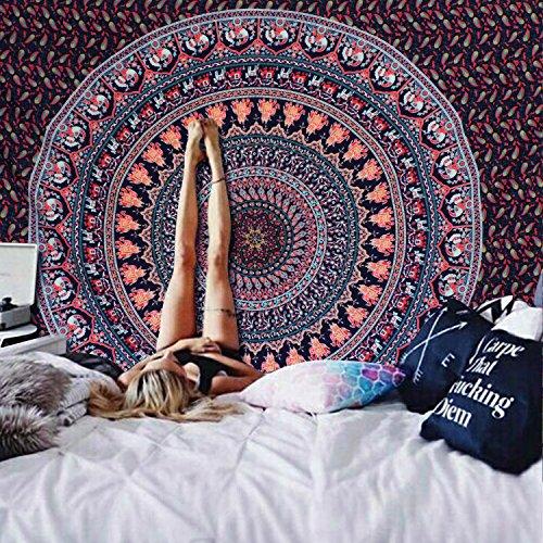 Alishomtll Mandala Wandbehang Bohemian indisch Wandteppich Tapisserie Yoga Hippie psychedelisch Deko Tuch groß Tischdecke 210 x 150cm