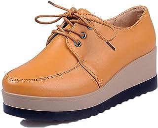 Jwans Femmes Plate Forme Chaussures compensées étanche Bout Rond Couleur Unie à Lacets en Cuir Oxfords Dames Marche décont...